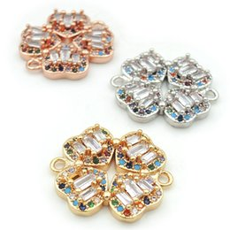 $enCountryForm.capitalKeyWord Australia - 21*19*4mm Micro Pave CZ Of Mixing Colors Heart Clover Connectors Fit For Men And Women Making Bracelets Jewelry