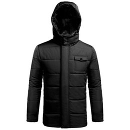$enCountryForm.capitalKeyWord UK - Men Casual Long Sleeve Padded Thick Solid Down Coat Zipper Outwear with Hat Removable Pockets Hood Winter
