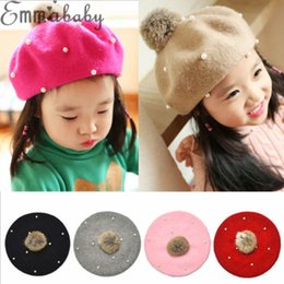 Wholesale Toddler Beret Hat Infant Kids Baby Girl Hat Winter Autumn Raccoon Fur Pom Knit Beanie Ski Cap Bobble
