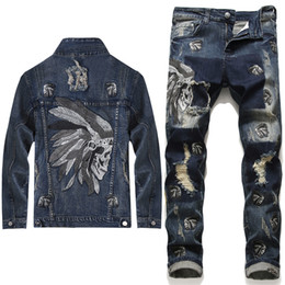 indian jeans venda por atacado-2020 New Men Denim conjuntos de fatos Moda Punk Marca indiana Bordados Buracos Denim Jackets Jeanspants Conjuntos Mens Clothing Pieces