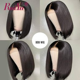 raw hair dye colors NZ - Short Human Hair Lace Front Bob Wigs With Baby Hair Raw Indian Virgin Hair Can Dyed Lace Fontal Wig For Black Women Ruiyu