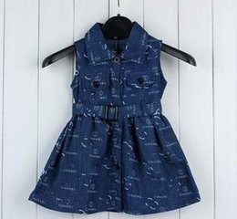 European Clothes Brands Australia - 2019 kids clothes European brand Children Garment Pure Cotton Girl Skirt Printing Cowboy Cloth Belt Kids Sleeveless Dress Free shipping