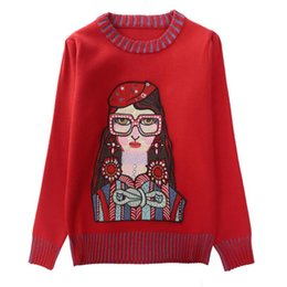 Ladies Wool Jumper UK - Autumn Winter Glasses Girl Red Knitted Sweater  Pullovers Women Diamond Female ff9364048