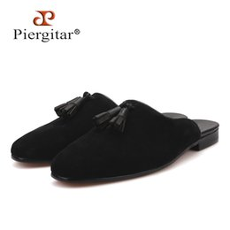 designs styles slippers 2019 - Piergitar new style Handmade Men's Suede Slippers Fashion party and show men's tassel shoes plus sizes half de