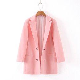 Office blazers online shopping - Women stylish pink blazer double breasted pockets long sleeve casual solid coat female office wear outerwear tops