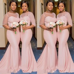 China South African Half Sleeve Tulle Pink Bridesmaid Dresses Long 2019 Illusion Scoop Wedding Guest Dresses Appliques Elegant Prom Gowns cheap purple yellow african wedding dresses suppliers