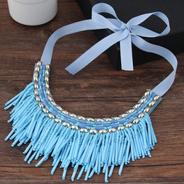 rope chain gold tassels Australia - 2017 Bohemian Choker Necklace Women Tassel Necklaces & Pendants Vintage Boho Collier Femme Maxi Statement Necklace Collares