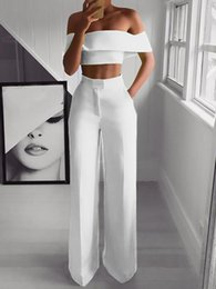 Matching top short sets online shopping - 2 Piece Set Women Solid Off the Shoulder Crop Top and Pants Fashion Sexy Female Pants Set Summer Women Matching