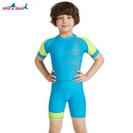 68d779a9cd Swim Two-Piece Suits DiveSail kids boys one piece swimsuit boy swimwear Sun  Protective children Rash Guard Costume Bathing Suits