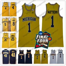 73f8857e380 2018 NCAA Final Four  2 Poole 1 Charles Matthews Michigan Wolverines Jersey  Webber Rose Howard Rice Chris Jalen Dwight Glen Yellow Vintage