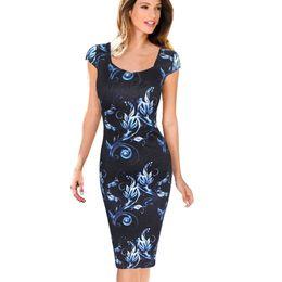 $enCountryForm.capitalKeyWord UK - Shipping Women designer clothes Free Dress Elegant Floral Print Cap Sleeve Work Business Casual Party Vestidos Be004-3