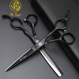 "hairdressing scissors sale Canada - Black 6.0"" Set Professional Hairdressing Scissors Hair Cutting Scissors Barber Scissor Thinning Shears Hair Cut Salon Tools Sale"