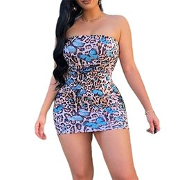 night butterfly dress Canada - Women Sexy Tube Dress Backless 2020 Fashion Leopard Butterfly Pattern Off-shoulder Skinny Party Night Club Dress Mujer Vestidos