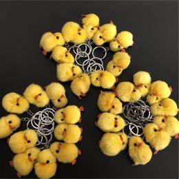 $enCountryForm.capitalKeyWord Australia - 10pcs lot 5cm Cute Genuine Real Fur Chick Doll Toy Charm Fur Ball Pompom Bag Charm Key Chain Keyring bag car phone Accessories
