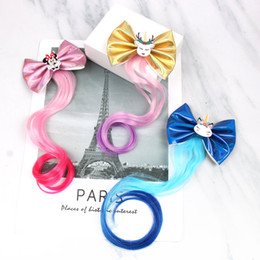 Bowknot wig online shopping - Unicorn Hair Bows for Girls Hair Clips with Long Wig Inch Leather Bowknot Hairpin Barrettes Kids Hair Accessories