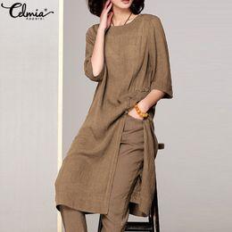 Celmia Women Vintage Striped Shirt Female Linen Tops 2019 Summer Blouses O Neck Short Sleeve Casual Loose Retro Blusas Plus Size Blouses & Shirts