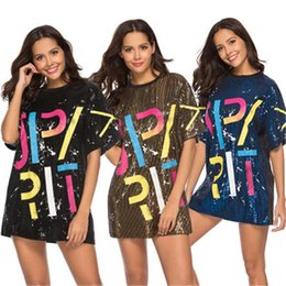 plus size sequin t shirt Australia - Sequin Letter Printed T-Shirts Dress Women Summer Sequined Hip Hop Tees Plus Size Tops Half Sleeve O-Neck Shirt Loose Dresses Clothing S-XL