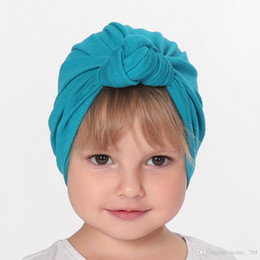 infant girl accessories 2020 - New Baby Girl S Knot Turban Hat Stretchy Cloche Cap Turban Bowknot Infant Cap Spring Autumn Kids Hats Beanie Accessories