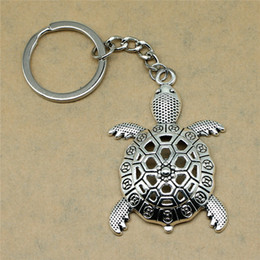 Silver Antiques Australia - 1 Piece Keychain Car Key Big Turtle Tortoise Cuckold Diy Jewelry Making Gift For New Year 55x37mm Pendant Antique Silver
