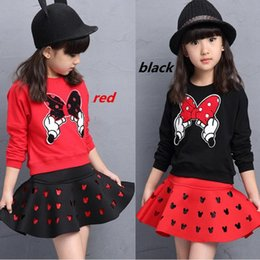 Bow Old Australia - 2019 latest spring and autumn piece fitted girls cartoon bow embroidered sweater hollow horn + skirt suit 3-8 year-old girl set