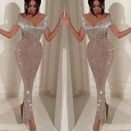 Wholesale 2019 Shiny Sequins Mermaid Prom Dresses Elegant Off Shoulder Tassel Evening Gowns Trumpet Ankle Length Split Cocktail Party Gowns