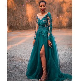 Petite dinner dresses online shopping - Emerald Green Tulle Prom Dresses Long A Line African Evening Gowns Long Sleve Appliques Beaded Leg Slit Dinner Formal Party Dresses