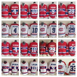 Discount patrick roy jersey canadiens - High Quality Vintage Montreal Canadiens 4 Jean Beliveau 9 Maurice Richard 10 Guy Lafleur 29 Ken Dryden 33 Patrick Roy Re