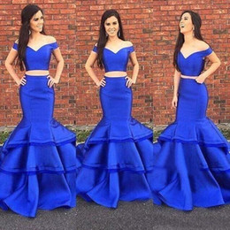 green crop top prom dresses Australia - Two Piece Graduation Prom Dresses Long Tiered Mermaid Royal Blue Stretchy Satin Fishtail Off Shoulder Crop Top Dress Evening Formal Gown