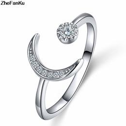 $enCountryForm.capitalKeyWord Australia - Charm Fashion Silver Color Ring Women High-Grade Crystal Cz Zircon Moon Ring Grace Opening Finger Tail Rings