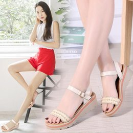 flat platform wedges Canada - 2019 Women Sandals Summer Genuine Leather Thick Heel Wedge Platform Sandals Ladies Ankle Strap Flat Sandals Shoes Woman Designer's Women's