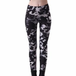 Black Milk Leggings Sizing Australia - 2017 New Women's Black Milk Workout Leggings Plus size Crow Printed Fitness Pants Female Leggins Slim Sexy Jeggings Trousers