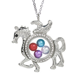 horse glasses NZ - Magnetic Open Rhinestone Flying Horse Glass Locket Pearl Cage Pendant Living Memory Floating Charms Necklace With Chain Jewelry Making