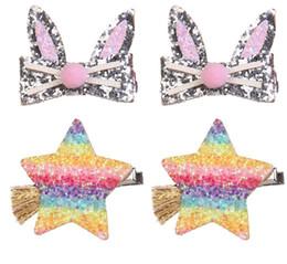 Stars Hair Clip NZ - Children sequins hair clip shining girls cartoon pompon rabbit ear princess hairpins kids gradient rainbow star tassel barrettes F2848