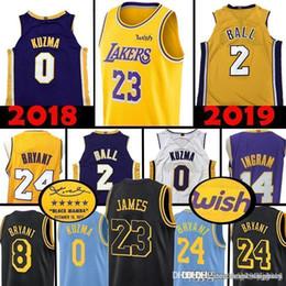 Top Los Angeles LeBron 23 James Lakers Lonzo 2 Ball Kyle 0 Kuzma Jersey  Brandon 4 Ingram 24 Kobe 8 Bryant Basketball Jerseys 2019 ceff4b59b