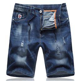 $enCountryForm.capitalKeyWord NZ - Mens Ripped Denim Shorts 2019 New Arrrivals Summer Casual Elasticity Drawstring Cotton Short Pants Breathable Light Blue Jeans