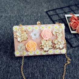 Discount hands bags summer - 2019 New Summer Flower Hand Dinner Bag Korean Fashion Bag Pearl Women's PU Chain Shoulder Handbags