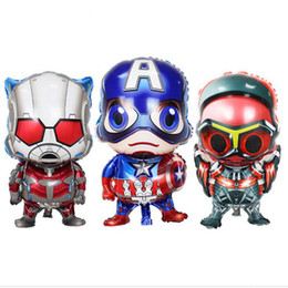 Chinese  Small Kids Birthday Party Decoration Idea 4 Avengers Mylar Balloons Toy Hunting Super Hero Captain America Superman Cartoon Balloons A51003 manufacturers