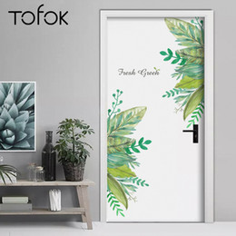 $enCountryForm.capitalKeyWord NZ - Tofok Fresh Green Leaves Wall Sticker Door Refrigerator Sticker Living Room Setting Wall Mural PVC For Furniture Decor