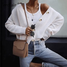 Sólido Brasão malha Cardigan Forefair com botões Casual 2019 Winter Open Individual Rosa Breasted Oversize Branco Knit Sweater Mulheres SH190912