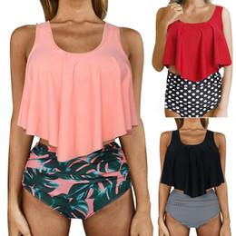 Discount high waisted fashion swimwear - Swimwear Fashion Women Falbala High-waisted Bikini Set Push-Up Swimsuit Bathing