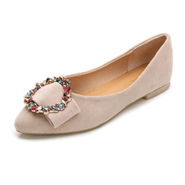 Ivory Rhinestones Flats NZ - 2019 spring new Flat shoes Pointed Leisure and comfort Rhinestone Sexy Girls Large size boat shoes Women's shoes