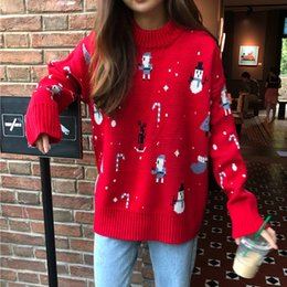 reindeer color Australia - Women's Knitted Chrismas Snowman Thick Sweater Autumn Winter O Neck Long Sleeve Female Pullover Loose Reindeer Ladies Jumpers Y191206