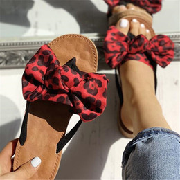 linen slippers Australia - Bow Slippers Women Sommer Summer Sandals Slipper Indoor Outdoor Linen -flops Beach Shoes Female Fashion Leopard Floral Shoes