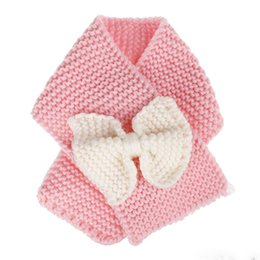 Wholesale Baby Winter Knitted Scarf Crochet Girls Boys Neck Ring Scarf With Bow Kids Warm Knitted Scarves Children Christmas