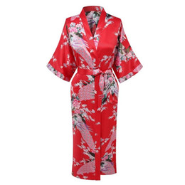 $enCountryForm.capitalKeyWord UK - Red Lady Silky Sleep Robe Kimono Summer Womans Bath Gown Yukata Nightgown Sleepshirts Casual Home Wear Nightwear Peacock