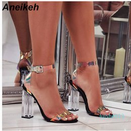 strap black NZ - Aneikeh 2019 Concise Summer PU Women Sandals Transparent Buckle Strap Round Toe Clear Glass Square High Heel Dance Black Size 42 l13