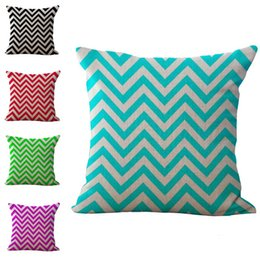 blue stripe cushion covers Canada - Blue Green Red Geometric Wave stripes Pattern Pillow Case Cushion cover Linen Cotton Throw Pillowcases sofa Pillowcover drop ship 240499