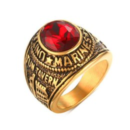 Middle Eastern Cluster Rings Australia - #8-12 high quality stainless steel United States Marines Ring for men with red crystal rings free shipping