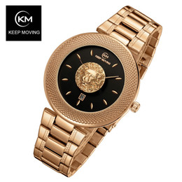 Discount solar powered roses - Lion head woman rose gold KEEP MOVING women top famous Brand Luxury Casual Quartz watch relogio feminino C19010301