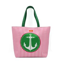 striped canvas tote bags wholesale UK - Stripe Beach Tote Wholesale Women beach bag outside Summer fashion Large Capacity Striped bag tote canvas bag shopping bags